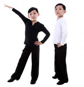 Black white v neck long sleeves boys kids child children baby competition performance professional latin ballroom tango waltz dance dancing top and pants sets outfits