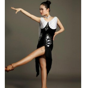 Black white v neck sleeveless fringes rhinestones women's ladies female competition performance professional latin samba dance dresses