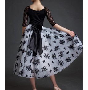 Black white velvet flocking flower floral  bowknot skirt women's female long length lace short sleeves performance long length competition ballroom waltz tango dance dresses for ladies set