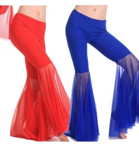 Black white yellow fuchsia hot pink light pink royal blue turquoise light blue trumpet long length women's ladies female competition performance sexy fashion belly dance costumes pants trousers