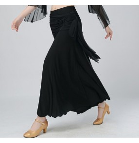 Black wide leg loose fashion long length women's ladies female competition stage performance latin ballroom tango dance swing pants trousers