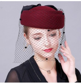 Black wine red 100% wool handmade vintage fashion bow knot fascinators veil bride wedding party pill box tops hats fedoras one size