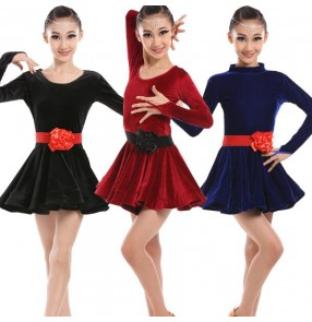Black wine red royal blue velvet long sleeves girls kid children performance competition professional gymnastics latin ballroom dance dresses outfits
