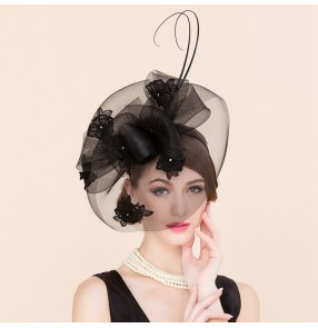 Black with appliques lace diamond luxury women's ladies female fashion horse race wedding party bridal brides  fascinators feather sinamay pillbox top hats hair clip
