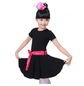 Black with hot pink sashes short sleeves girls kids child children toddlers growth gymnastics leotard latin salsa cha cha dance dresses