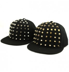 Black with Silver gold rivet fashion convas casual punk rock boys kids children performance hip hop jazz singer dancing dance hats caps peaked caps