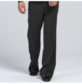 Black with small striped thick style straight loose men's male adult latin salsa cha cha ballroom jive rhythm  dance pants tousers