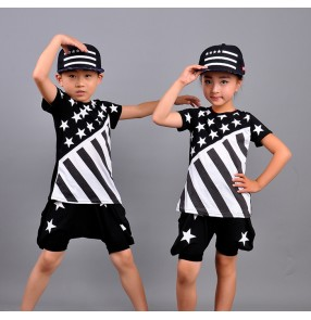 Black with white stars girls kids boys  children baby stage performance school play casual street dance hip hop jazz dance ds singer dance costumes outfits dancewear