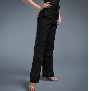 Black women's men's  wide leg swing pocket  competition professional performance latin ballroom dance pants trousers
