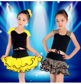 Black yellow leopard fuchsia hot pink patchwork sleeveless girls kids children toddlers performance competition latin dance dresses sets outfits