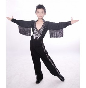 Black zebra printed patchwork Rhinestones long sleeves v neck leotard shirts long pants boys children kids toddlers performance ballroom latin rhythm salsa dance outfits sets