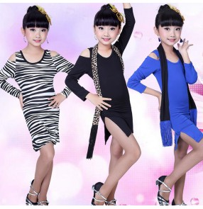 Black zebra royal blue printed long sleeves side split fringes competition performance gymnastics practice ballroom latin dance dresses outfits skirts with sashes