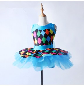 Blu turquoise rainbow plaid girls kids children competition leotards stage performance tutu skirt ballet dance dresses outfits