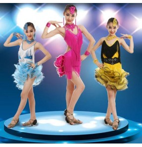 Blue and white fuchsia and black yellow and black hot pink purple violet neon green girls kids children  fringes performance latin salsa cha cha dance dresses outfits dancewear clothes