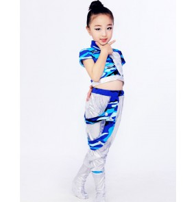 Blue camouflage and silver patchwork long pants fashion boys girls kids children hip hop jazz singer ds school play dancing costumes outfits