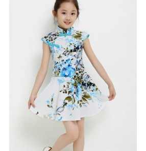 Blue light pink floral girls kids children cheongsam  dresses performance cos play  modern dance school play outfits