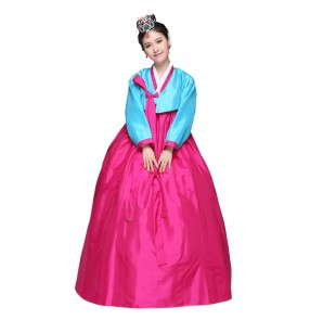 Blue pink and fuchsia hot pink and grey white patchwork women's hanbok korean traditional ethnic style cos play performance dance costumes dresses outfits
