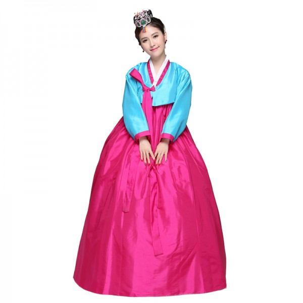 Blue Pink And Fuchsia Hot Pink And Grey White Patchwork Womens Hanbok Korean Traditional Ethnic