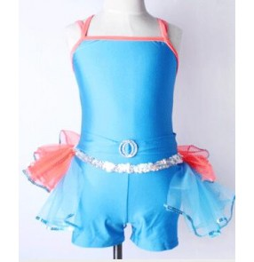Blue pink patchwork girls kids children leotard tutu modern performance ballet dance costumes outfits