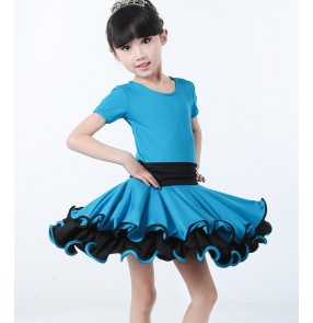 Blue red fuchsia hot pink short sleeves round neck girls kids children kindergarten gymnastics competition performance latin dance dresses
