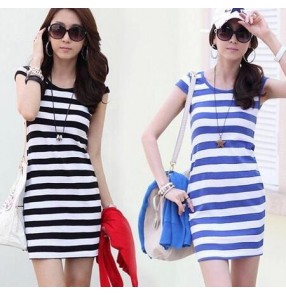 Blue white black white striped printed round neck tank girls women's slim fashion casual dresses vestidos