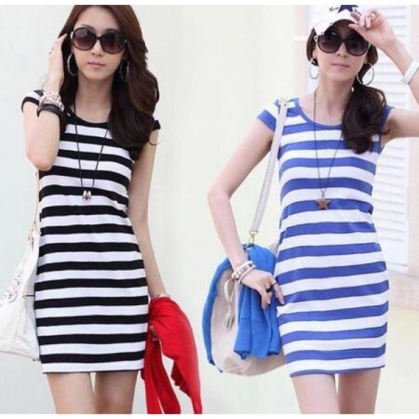 4462bec5d0 Blue white black white striped printed round neck tank girls women s slim  fashion casual dresses vestidos