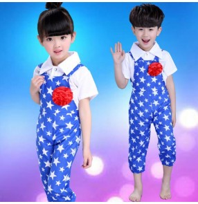 Blue white patchwork boys girls kids kindergarten children child stage performance modern dance school play toddlers outfits costumes