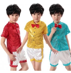 Blue white yellow silver black white silver black patchwork sequined boys kids child children jazz dance costumes dance clothes outfits hip hop play clothes