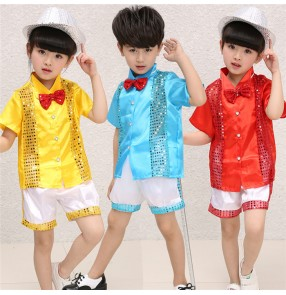 Blue yellow red patchwork white sequined boys girls kids child children toddlers kindergarten school paly t show baby jazz modern dance dj ds dance costumes