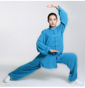 Blue yellow white black red fuchsia hot pink light pink long sleeves cotton linen comfortable material women men's ladies female unisex kung fu martial  Chinese style folk dance costumes outfits set