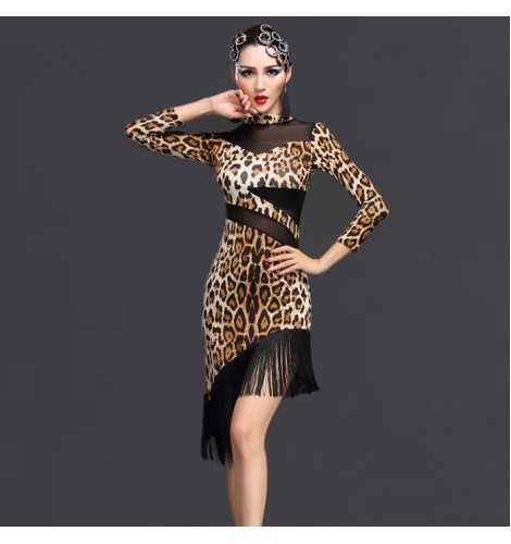 c29cc774942 Brown coffee blue leopard zebra printed sexy fashion long sleeves turtle  neck mesh patchwork competition ladies female latin ballroom dance dresses  outfits ...
