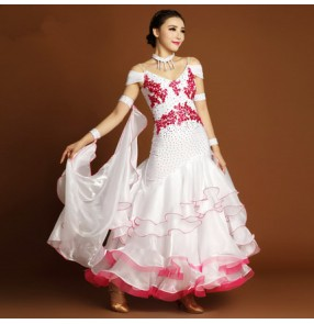 Competition Dresses Ballroom Dance waltz dresses Ballroom dancing for women green rose dance competition dresses tango dances