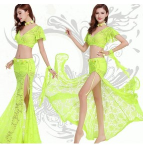 Coral neon yellow dark purple violet fuchsia hot pink hot pink red royal blue orange lace material v neck long tail skirt  women's competition performance belly dance dresses set outfits