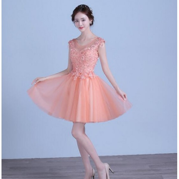 1ea45cf1601 Coral pink color women s female short length A line lace appliques beaded  with rhinestones sleeveless tulle pleated wedding evening party bridesmaid  dresses ...