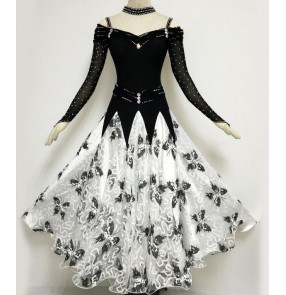Custom size handmade Black white patchwork floral embroidery women's ladies female competition professional standard long length ballroom tango waltz  flamenco dance dresses