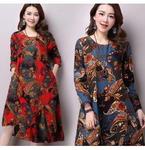 Dark blue navy red floral printed pattern cotton linen material long length fashion loose style women's ladies female  dresses vestidos