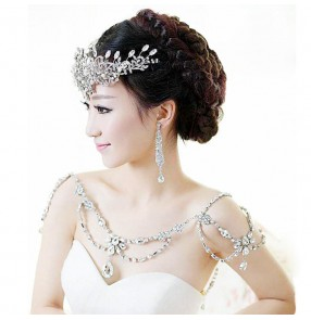 Diamond  women's ladies wedding party bridal  beaded shoulder cape necklace jewelry accessories
