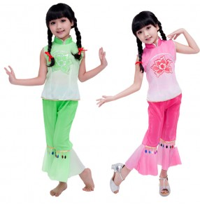 Discount cheap wholesale Gradient green hot pink fuchsia sleeveless turtle neck girls kids children chinese folk dance school play yangko fan dance cos play costumes outfits dance wear