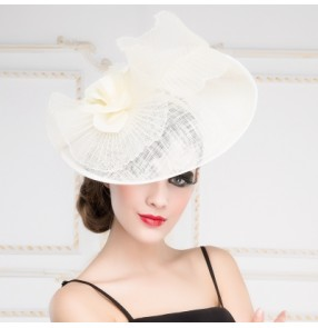 Elegant Wide Birm Bucket Kentucky Derby Dress Wedding Women's Summer Sunhat Sinamay Hat White Black ivory pillbox hat