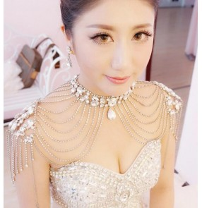 Fashion crystal beaded diamond  tassels women's ladies female wedding evening bridal party jewelry cape necklace shoulder necklace dress accessories