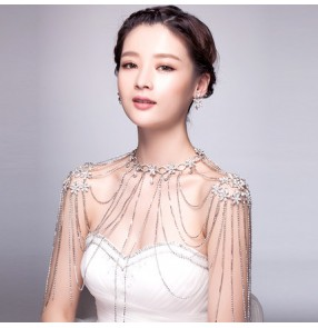Fashion crystal diamond tassels layers wedding party bridal women's ladies shoulder cape necklace dresses jewelry accessories