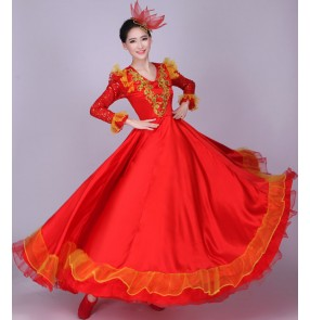 Flamenco Red gold yellow fuchsia hot pink long sleeves sequins women's ladies  Spanish performance chorus opening dance folk dance full skirted dance long length dresses outfits