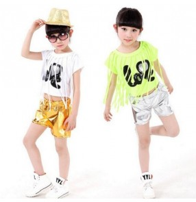 fringes Silver gold girls boys hip hop modern dance t show school play dance costumes set