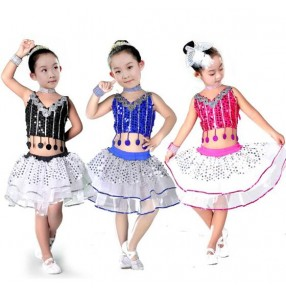Fuchsia black royal blue sequined patchwork girls kids child children toddlers modern dance stage performance  School play dance costumes outfits