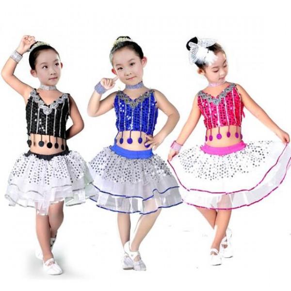 255d1c629d64 Fuchsia black royal blue sequined patchwork girls kids child children ...