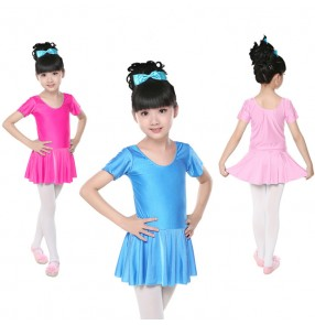 Fuchsia  black  turquoise colored short sleeves girls kids child toddlers ballet dance  gymnastics practice leotard tutu dance dresses