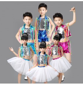 Fuchsia blue silver sequins fringe glitter leather fashion girls kids children boys school play competition performance jazz hip hop dance costumes outfits