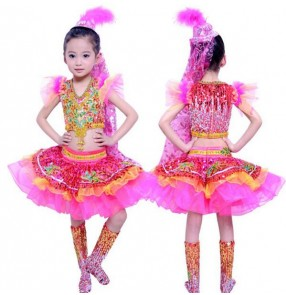 Fuchsia gold patchwork girls kids children v neck  modern stage performance jazz dance costumes split dresses sets