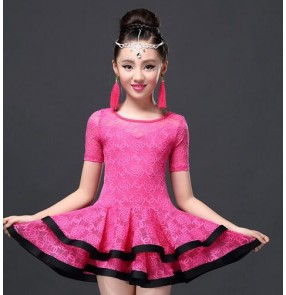 Fuchsia hot pink black royal blue lace girls kids children short sleeves professional gymnastics competition performance latin dance dresses costumes outfits