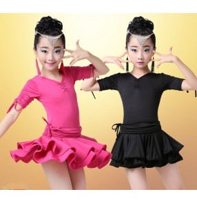 Fuchsia hot pink black short sleeves leotards spandex  girls kids children school play stage performance gymnastics competition latin salsa cha cha dance dresses outfits costumes